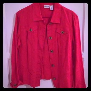 Chico's red linen jacket size 2